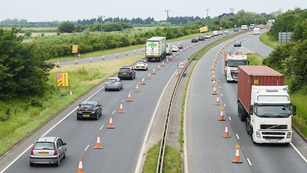 Roadworks have begun on the A47 between The Pullover and Hardwick roundabouts in King's Lynn. Pictur