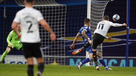 Ronan Curtis shoots wide for Portsmouth