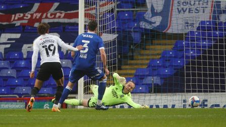 David Cornell makes a good save early in Ipswich Town's loss to Portsmouth
