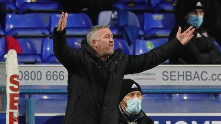 Paul Lambert appeals to the referee during Ipswich Town's loss to Portsmouth