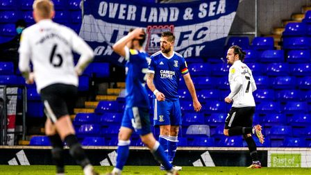Ryan Williams celebrates his and Portsmouths second, in their 2-0 victory over Town. Picture: St