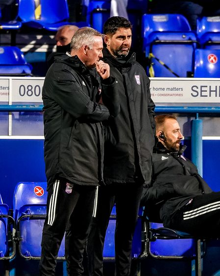 Town manager Paul Lambert and his assistant Stuart Taylor pictured after Portsmouth had scored their