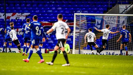 Ryan Williams (7) scores his and the visitors second in their 2-0 victory at Portman Road. Pict