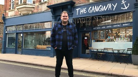 Will Chandler standing outside The Gangway in Church Street Cromer