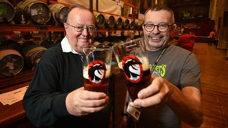 Warren Wordsworth (left) pictured in 2017 at the 40th Norwich Beer Festival.