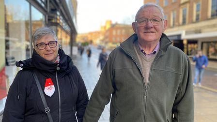 Mrs and Mr Dickson, from Costessey, visiting Norwich city centre.