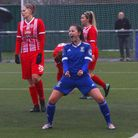 Eloise King celebrates her goal in Town Womens 9-2 win at Harlow in the FA Cup Picture: Ross Halls