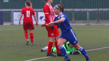 Georgia Allen celebrates one of her three goals in the Blues 9-2 win at Harlow in the FA Cup Picture
