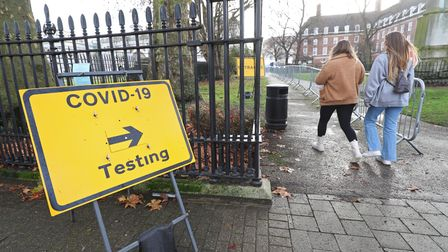 A sign directing people to a Covid-19 testing site in Greenwich, London.