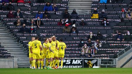 Burton Albion's Colin Daniel after scoring his side's first goal of the game during the during the S