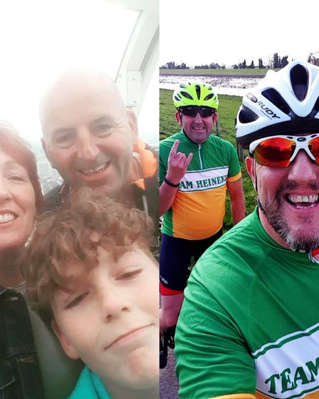 Left side is a husband and wife smiling with their teenage son. Right is two middle aged men wearing bike riding equipment...