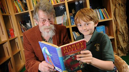 Actor John Hurt visits The Belfry Primary School, Overtstrand, and reads to the pupils. Pictured wit