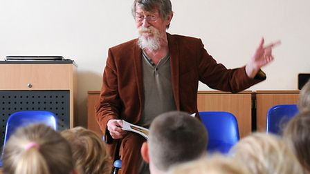 Actor John Hurt visits The Belfry Primary School, Overtstrand, and reads to the pupils. PHOTO: ANTON