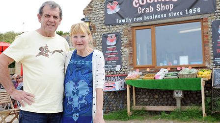 Peter and Sue McKnespiey outside Cookies Crab Shop in Salthouse. Picture: Matthew Usher.
