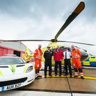 Norfolk police celebrate their support of the air ambulance. From left: Dr Antonio Bellini, Insp Dar