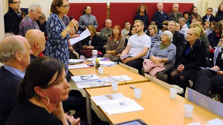 Diana, a patient from North Norfolk, speaks in the crowded room at the Vauxhall Centre as the campai