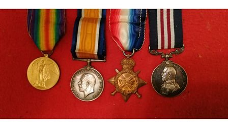 The medals which were awarded toLance-Corporal Robert Maurice Williams, who died in the First World War