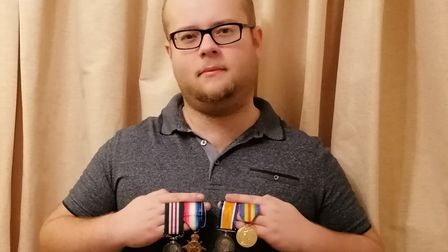 David Cobbold of Bury St Edmunds with the medals awarded to his great-great-grandfather, LanceCorporalRobert Maurice...