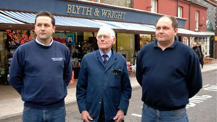 From left to right, Jamie, Ron and Chris Wright, outside Blyth and Wright in 2006.