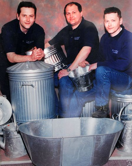 Ron Wright from Blyth & Wright Ironmongers, Sheringham. Ron's sons, left to right, James, Chris and