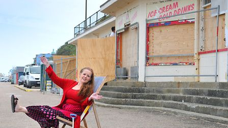 Cromer cafe owner and flood victim Sarah Lynch pictured at the site of her old cafe on the promenade