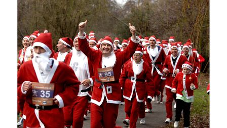 The first Great North Essex Santa Run fundraising event for EACH taking place in Colchester's Castle Park in December 2007