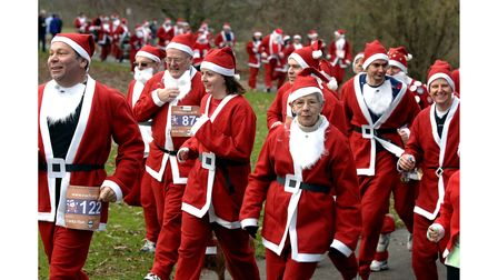 The Great North Essex Santa Run fundraising event for EACH in 2007 in Colchester