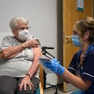 A patient receives a coronavirus vaccine dose at Two Rivers Medical Centre in Ipswich