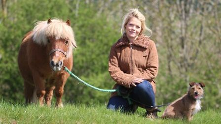 woman in countryside holding reins of miniature Shetland pony