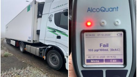 A lorry driver was caught drink driving on the foggy A47 on December 7. Picture: Cambs Cops