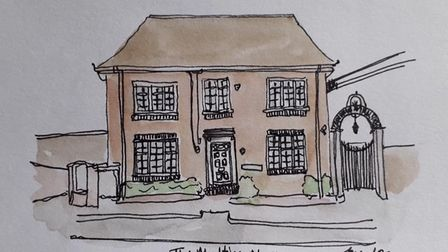 The old telephone exchange and the gate leading to The Maltings in Great Dunmow by Jessica Sian Illustration.