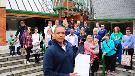 Labour's Norwich South parliamentary candidate Clive Lewis, staff and patients show their support fo