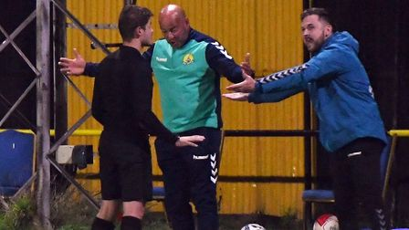 March Town boss Arran Duke (right) admits the Covid-19 pandemic has been the toughest test of his managerial career so far...