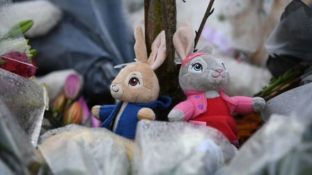 Soft toy tributes left at the scene of a house fire on Buttercup Avenue, Eynesbury, Cambridgeshire, where a three-year-old...