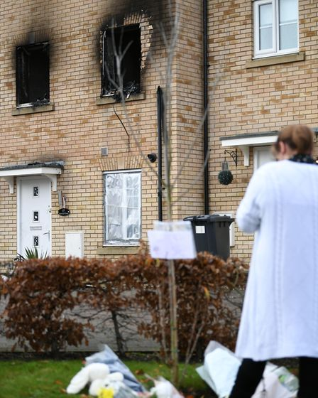 The scene of a house fire on Buttercup Avenue, Eynesbury, Cambridgeshire, in which a three-year-old boy and a...