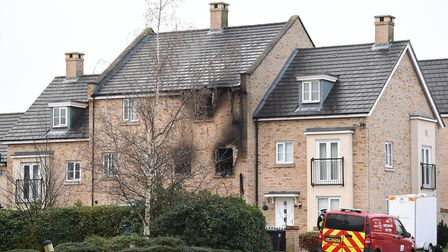 Emergency services at the scene of a house fire on Buttercup Avenue, Eynesbury, Cambridgeshire, in which a three-year-old...