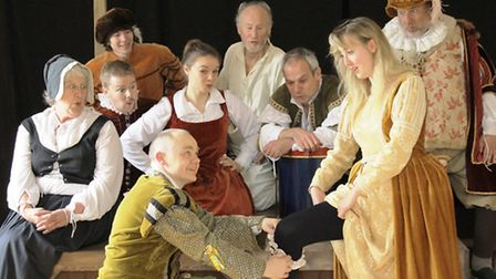 Charmed Life's production of Hey Jig-a-Jig! An encounter between Will Kempe (Peter Long) and Marian,