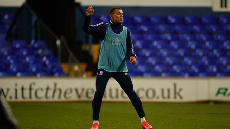 Kayden Jackson pictured during the warm up.