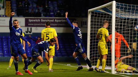 Emyr Huws scores to give Town a 2-1 advantage.