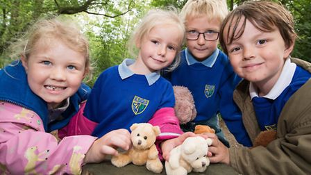 Children from Kelling Primary School enjoy a teddy bear hunt, nature walk and an indoor teddy bears'