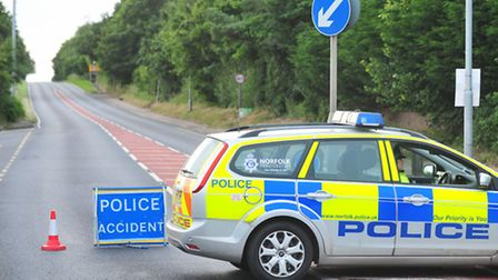 Police road block on the A146 at Thurton.