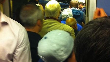 Disruption on the Norwich to London Liverpool Street line last night. Photo: Wendy Pilmer