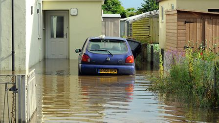 Flash flooding on Friday afternoon in Newport Road, Hemsby.Picture: James Bass