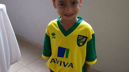 Gustavo in his Norwich City kit