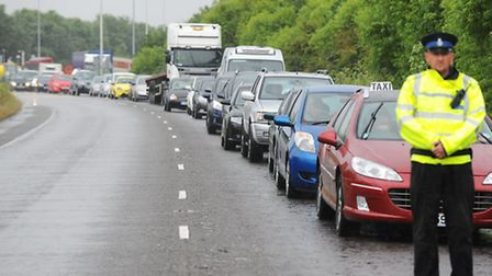 Road traffic accident on the A12 close to the Gapton Hall Roundabout.Two of the seven cars involved