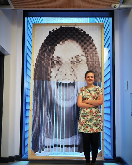 Emily Perrott with one of her pieces. Photo by Simon Finlay.