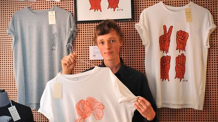 Charlie Soffe with his designs. Photo by Simon Finlay.