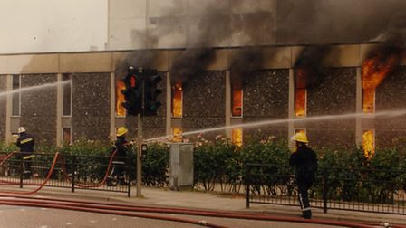 The fire at Norwich central library.