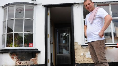 A car was driven into the front of Pizzeria Bello in Attleborough. Owned by Ionel Baluta.