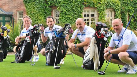 Setting their watches in preparation for their 24 hour golf marathon at Weston Park( l to r) Paul At